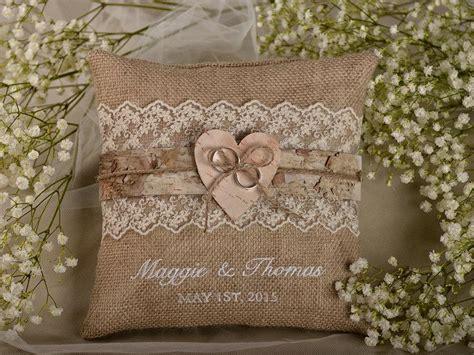lace rustic wedding pillow birch bark ring bearer pillow