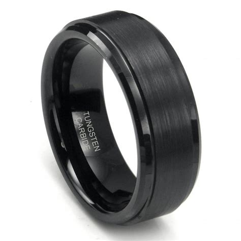 mm black high polish matte finish mens tungsten ring