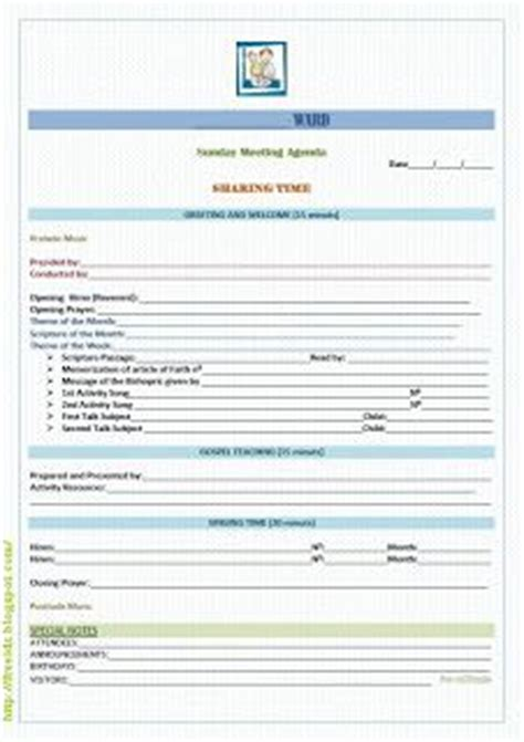1000 Images About Primary On Pinterest Lds Primary Lds And Scriptures Sunday School Meeting Agenda Template