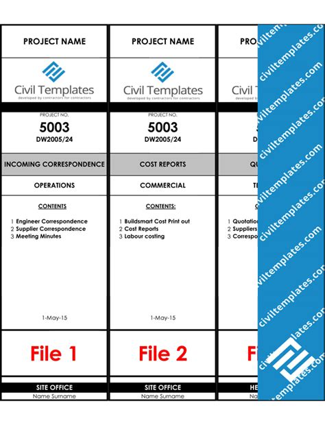 filing label template project management document templates civil engineering