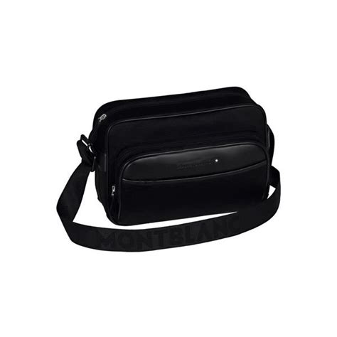 Bag Mont Blanc 7519 nightflight collection montblanc reporter bag with zip cotton canvas black silk and