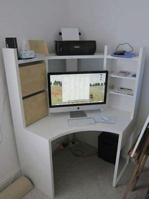 ikea micke corner workstation desk unit white  birch drawers excellent desks corner