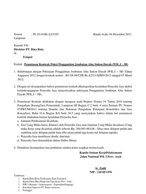 Surat Permintaan Barang Ditujukan Ke Direktur Rsu by Surat Pemutusan Kontrak