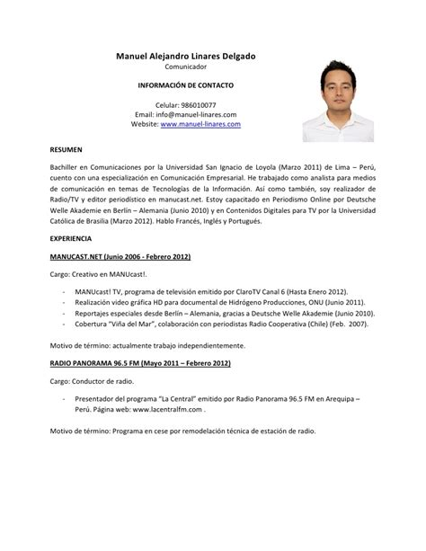 Modelo Curriculum Universidad Manuel Curr 237 Culum Vitae 2012