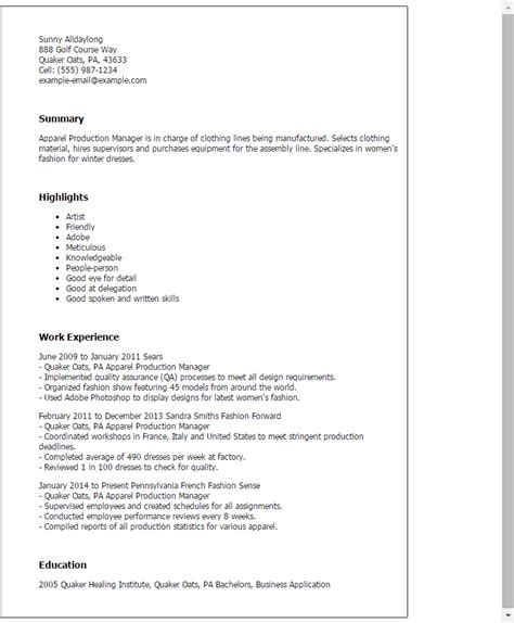 Fashion Production Manager Cover Letter by 1 Apparel Production Manager Resume Templates Try Them Now Myperfectresume