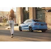 Sky Blue Audi S3 Sedan On Vorsteiner V FF 103 Wheels In Car Girl Shoot