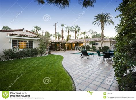 Patio In Front Of House Patio With Pool In Front Of Modern House Royalty Free