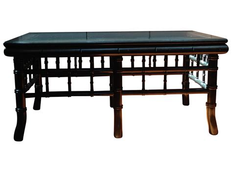 bamboo coffee table glass top black faux bamboo coffee table with glass top chairish