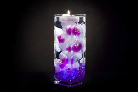 floral lights violet floral centerpiece with led lights and floating candles