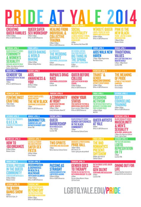 Yale Calendar Of Events Pride Yale 2014 Office Of Lgbtq Resources