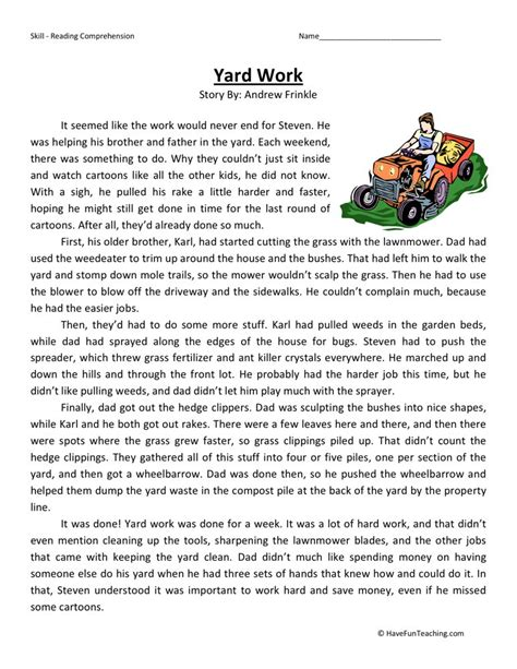 reading comprehension test in grade 5 reading comprehension worksheet yard work