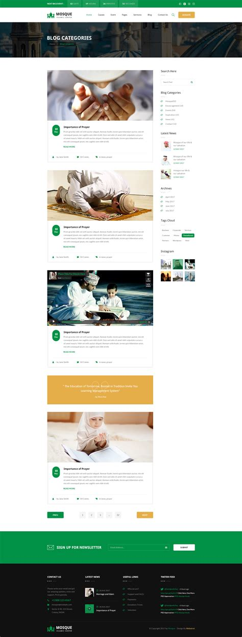 blogger islamic themes mosque islamic center bootstrap psd template by webstrot