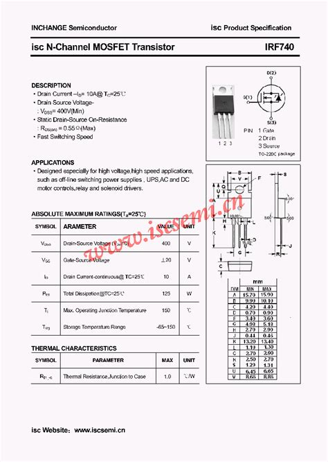 transistor number irf740 4507208 pdf datasheet ic on line