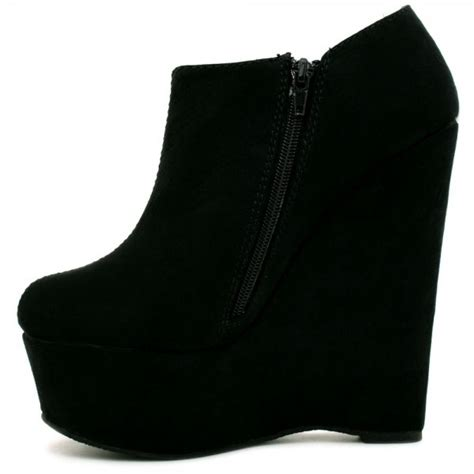 suede style wedge heel platform ankle boot shoes black