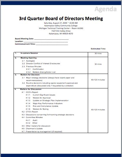board of directors meeting agenda template printable