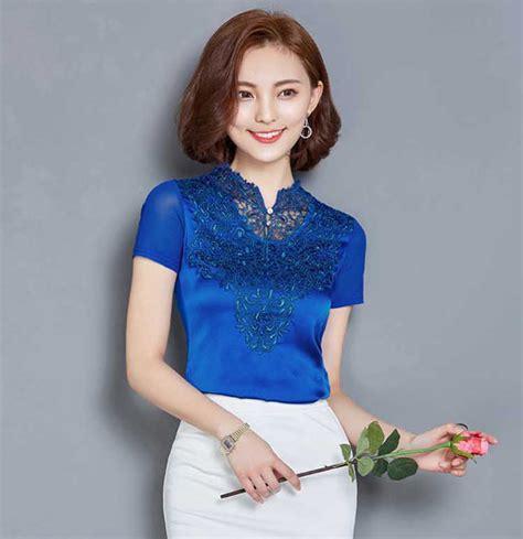 N Rg Bordir Biru Blouse Wanita atasan brokat lengan pendek kombinasi satin warna biru cantik b3084