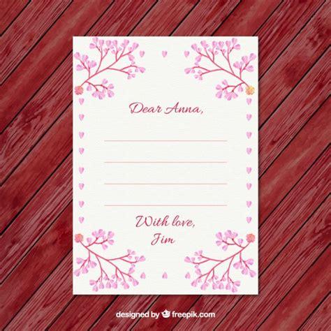 bloemen schrijven bloemen ornamenten valentijnsdag brief vector gratis
