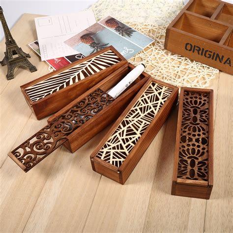 Baru 2 In 1 Multifunction Box Brown wooden hollow wood pencil storage box brown pencil