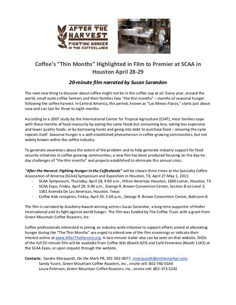 press release after the harvest film premiere at scaa