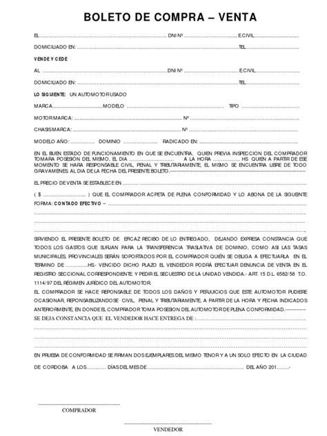 boleto de compra venta automotor modelo de boleto compraventa pdf