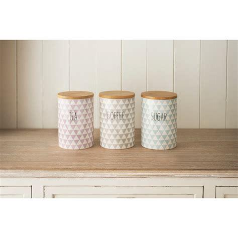 Kitchen Ceramic Canister Sets Diamonds Tea Coffee Sugar Set 3pc Kitchenware