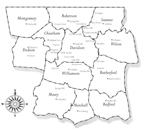 middle tn map map of middle tn counties and cities pictures to pin on