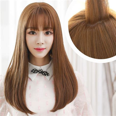 Hair Style Doll Heads With Different Colors by Korean Air Bangs Wig Hair Pear Volume