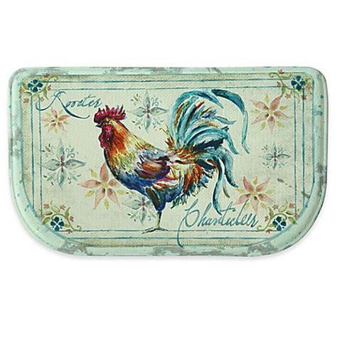 blue border memory foam kitchen bacova 18 inch x 30 inch watercolor rooster memory foam kitchen mat in blue bed bath beyond