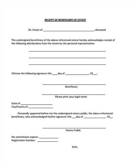 Llc Distribution Receipt Template by 7 Beneficiary Release Form Sles Free Sle Exle