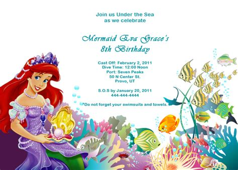 printable birthday invitations ariel ariel disney little mermaid free birthday invitation