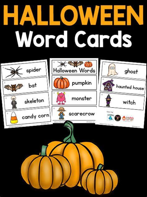 halloween themed words halloween picture word cards prekinders