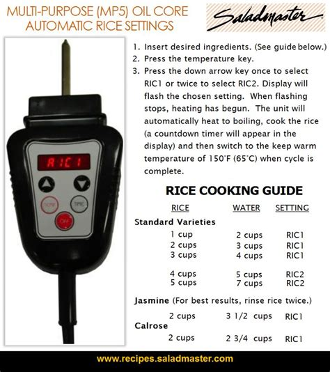 Rice Cooker Saladmaster rice cooking guide automatic rice settings for saladmaster multi purpose mp5