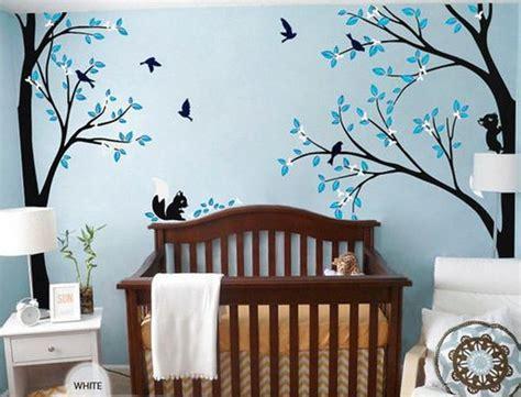 Full Corner Tree Squirrel Bird Flower Wall Decals Nursery Flower Wall Decals For Nursery