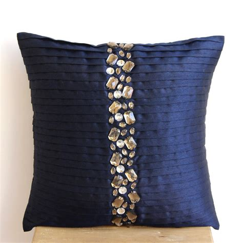 Cushion Covers Handmade - handmade navy blue cushion covers 16x16 silk