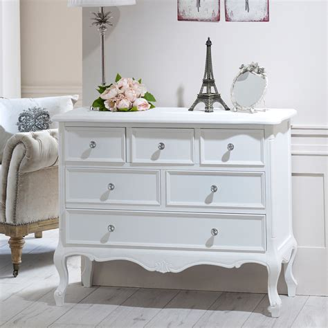 white wooden large chest of drawers shabby vintage chic