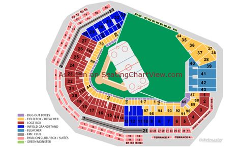 fenway seat chart fenway park boston ma seating chart view
