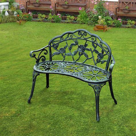 green outdoor bench outsunny cast aluminum garden bench antique green aosom
