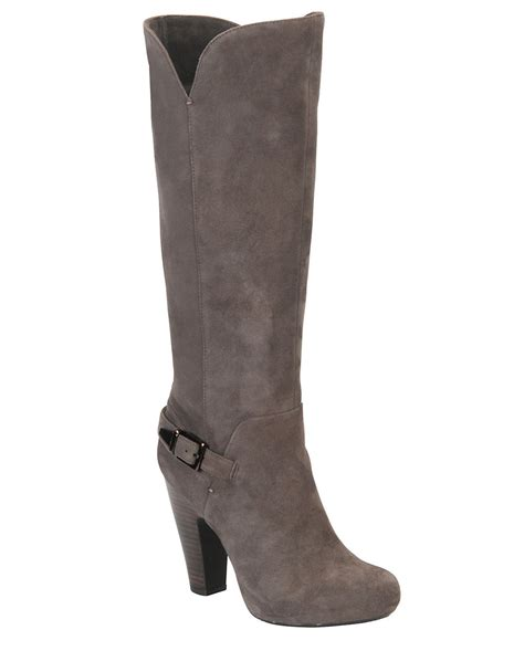 womans grey boots lyst s 246 fft felicia high heel suede boots in gray