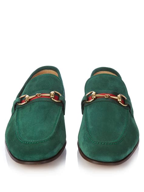green mens loafers gucci horsebit suede loafers in green for lyst