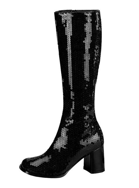 sequin gogo boots black