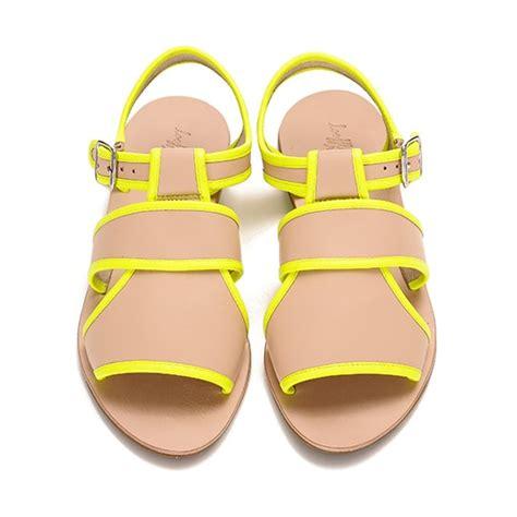 neon yellow flat shoes loeffler randall new selima plank sandal s t