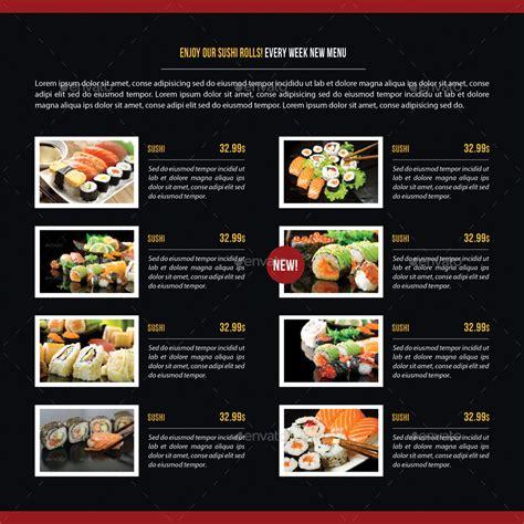 japanese restaurant menu template sushi restaurant menu square 3 fold brochure 03 by