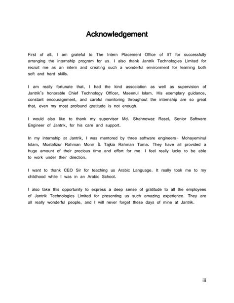 Project Report Acknowledgement Letter Sles Report Acknowledgement Sle