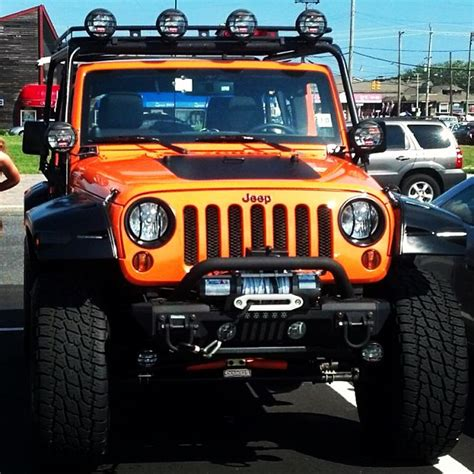 jeep wrangler orange lifted lifted jeep jeep lifted custom summer offroad cars lbi