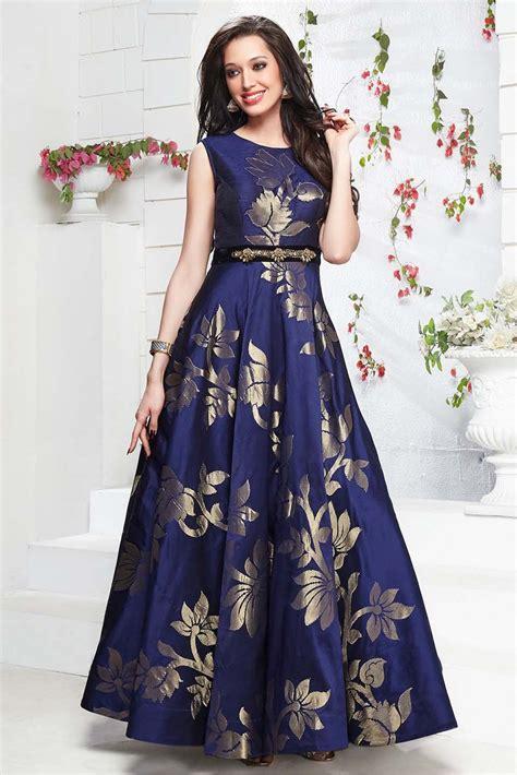 gaun dress design with price taffeta silk gown in navy blue colour