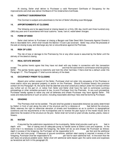 Contract Of Sale New Construction Free Download Pa Construction Contract Template