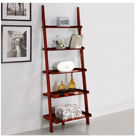 5 Tier Leaning Wall Shelf by Five Tier Cherry Leaning Ladder Shelf Bookcases By Overstock