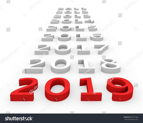 new year 2019 3d render new year 2019 next stock illustration 267571568