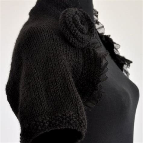 Black Knitted Bolero black knit shrug bolero bridal shrug
