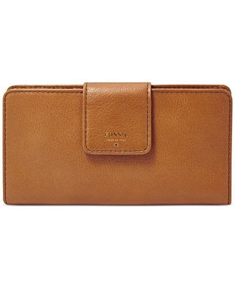 Tab Mata Wallet Fossil fossil sydney leather tab clutch wallet in brown lyst